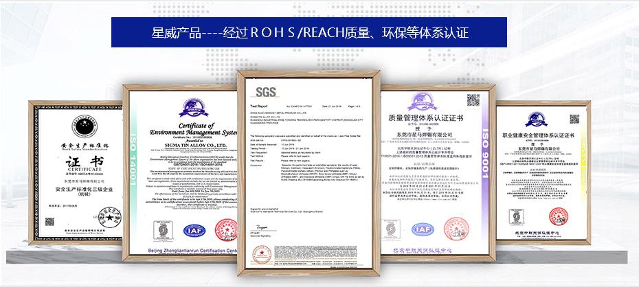 星威金属产品认证证书